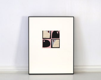 Vintage Black Pink Abstract Painting Vintage Pattern Design Elmo Milton Anderson NYC c. 1920s - 1930s Framed 11 x 14 inches