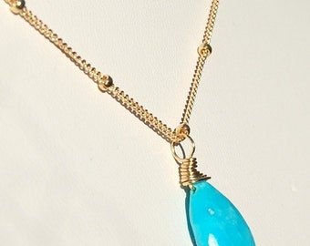 Turquoise Necklace, 14K GF, Sleeping Beauty Wire Wrapped on Gold Filled Chain, December Birthstone