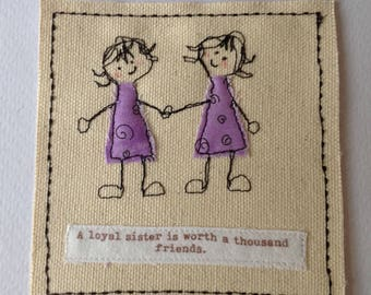 Birthday card for sister. Sister get well. Sister thank you. Twin sister card. Can be personalised with your words printed  top of the card.