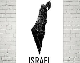 Israel Map, Map of Israel, Israeli Art, Israel Print, Israel Wall Art, Israeli Gifts, Israeli Decor, Israel Map Print, Israel Art Print