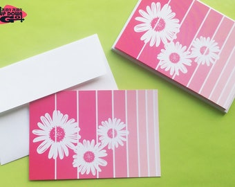 Pink Gerbera Daisy Easter Flowers Cards (set of 6), Spring Flower Daisy Note Cards & Floral Stationery, Daisy Flower Greeting Cards