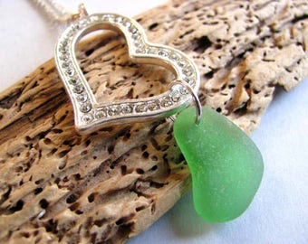 Heart Beachglass Jewelry - Ocean Jewelry Green Pendant - Heart Pendant - Pure Sea Glass Pendant - Sea Glass Necklace - Prince Edward Island