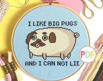 Pug Cross Stitch Pattern - PDF Download