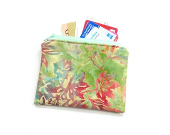 Change purse, batik leaf fabric coin pouch, small wallet, coin pouch, gift for her, credit card case