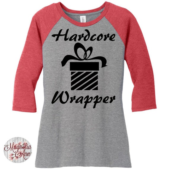 Hardcore Wrapper, Christmas Womens Baseball Raglan Top in 6 colors, Sizes Small-4X, Plus Size, Plus Size Clothing, Plus Size Christmas
