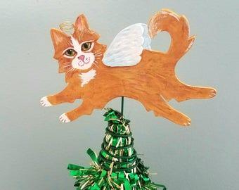 Cat Angel Tree Topper ~ Orange Cat ~ Cat Topper ~ Small Tree Topper ~ Cat Christmas Tree Topper ~ Cat Decor ~ Cat Theme Tree