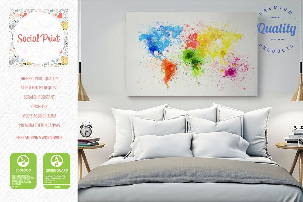 Paint splash world map canvas print free shipping home zoom gumiabroncs Gallery
