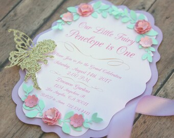 Fairy 1st birthday invitation, fairy party, garden party, magical fairy party, pink and purple, fairy birthday decor, first birthday party
