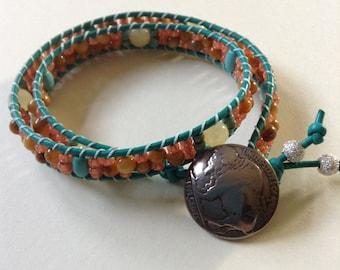 Gemstone Leather Wrap Bracelet