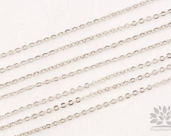 C100-R// Glossy Rhodium Plated Small Cable Chain, 1M