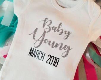 Pregnancy Announcement Onesie; Baby Announcement; Baby Reveal Onesie; Pregnancy announcement baby bodysuit; We're Expecting Onesie