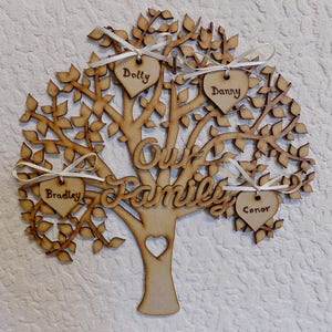 Personalised Our Family Tree Hanging Plaque Sign Laser Cut MDF Hearts 24x24cm