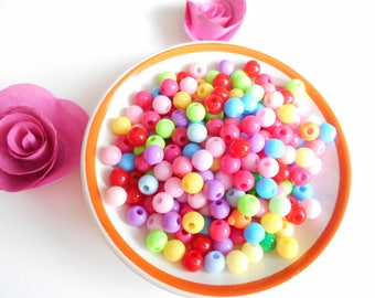 100 multicolored 6 mm acrylic beads