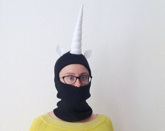 Unicorn Horn Hoodie for Adults - Black Ski Mask with Terrifying Horn - Snowboarding Mask
