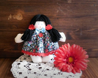 Handmade fabric doll soft with floral dress for little girl, spring style, bedroom decor, gift ideas for kids, mom, sister, aunt, daughter.