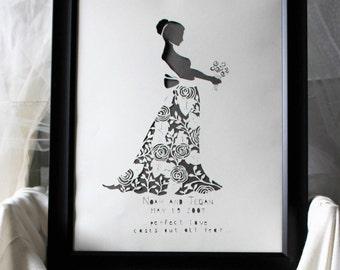 Scherenschnitte Wedding Keepsake, Wedding Kirigami, Wedding Papercut, Anniversary Papercut Keepsake, Wedding Memento, Anniversary Memento