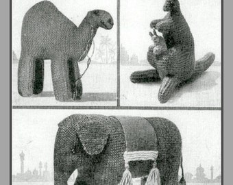 PDF Knitting Pattern for a 1940's Elephant, Kangaroo and Camel - Instant Download