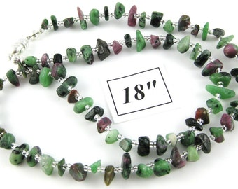 Ruby Zoisite 18 inch gemstone chip choker with magnetic clasp