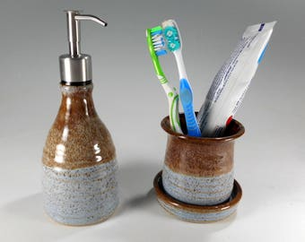 Ceramic toothbrush holder soap dispenser bathroom accessory set, pottery soap pump, stoneware lotion pump, stainless pumper