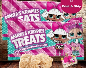 Custom Rice Krispies Treats label, custom party favor, custom birthday party favor, Custom treat wrapper, DIGITAL FILE ONLY