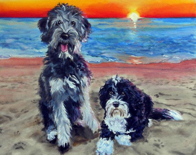 "Landscape Painting with Pet Portrait, Oil Painting on Canvas, 16"" x 20"""