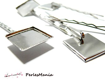 10 square tray silver plate 20mm, DIY barrette backings
