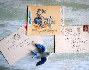 Vintage British Postcard Handwritten Letter and Birthday Card