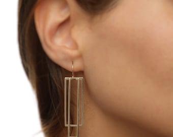 Rectangle Earrings, Statement Earrings, Plated Gold Dangle Earrings, Geometric Earrings, Women's Geometric Jewelry, Long Gold earrings