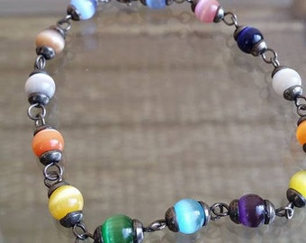 vintage bracelet with colorful glass beads