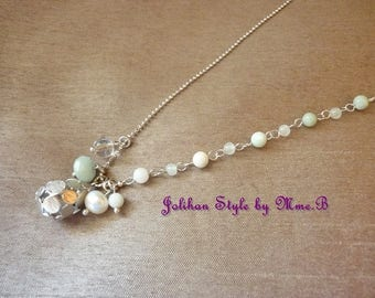 """Necklace """"Sweet in city""""-silver with amazonite and Pearl"""