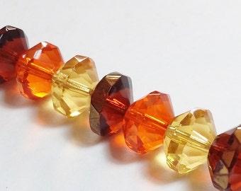 4pcs Assorted Orange Beads - Czech Glass Beads - Saucer Beads - Autumn Beads - Fall Beads - Faceted beads - 7x11mm - GB368