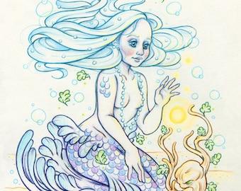 """Mermay#6 """"The Gateway"""" - Original Mermaid Drawing on Moleskine ORIGINAL OOAK Art"""