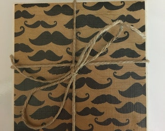 Mustache Tile Coasters..Set of 4..Gift