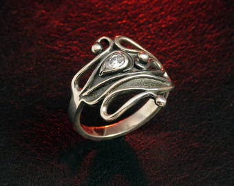 Sterling silver ring for women, art nouveau ring, oxidized silver ring, zircon ring, women's silver ring, wide ring, unique ring, gift