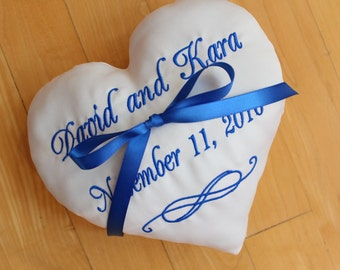 Ring bearer pillow, wedding ring pillow, ring holder, heart shaped, infinity design, Custom embroidered, Monogrammed, light IVORY 7x7