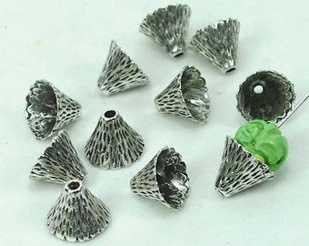 10 Antique Silver Pewter Cone Caps Beads 9x12mm  (p129)