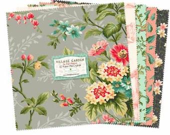 Village Garden 5 Inch Squares Charm Pack, 42 Pieces, Kaye England, Wilmington Prints, Precut Fabric, Quilt Fabric, Cotton Fabric, Botanical