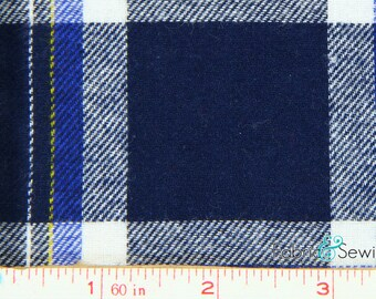 """Navy, Royal Blue, White and Yellow Plaid Flannel Fabric Cotton 7.5 Oz 59-61"""" 840447"""