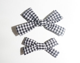 Black and White Gingham Eleanor Headband or Clip