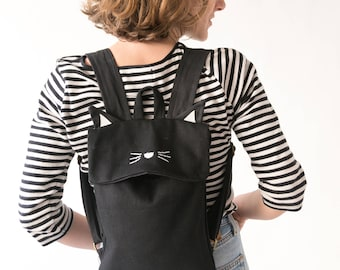 Cat backpack, Black Cat Backpack, Black Backpack, Animal Backpack, Small Backpack, Cat Bag, Cute Bag, Weird bag, Children Backpack, Kids bag