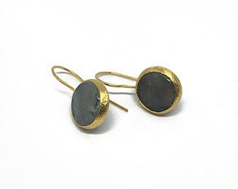 Green-Grey Natural Stone Earrings