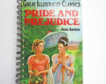 Pride and Prejudice Notebook, Journal. Recycled Book Journal, Jane Austen Vintage Book Journal, Blank Book
