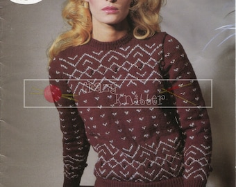"Lady's Sweater 32-42"" DK Sirdar 6389 Vintage Knitting Pattern PDF instant download"