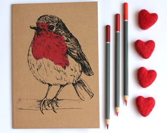 A5 Robin Notebook A5 Plain Kraft Notebook Blank Notebook