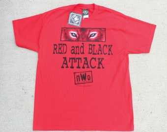 Vintage 90's Deadstock New With Tags Red And Black Attack NWO New World Order Wolf Wrestling WWE Tee T Shirt Size XL