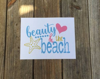 Beauty and the Beach Iron-On Vinyl Decal~ Glitter Iron-On Vinyl Decal~ Iron-On Vinyl Decal ~ Beach/Summer Iron-On Decal~ DIY TODDLER SHIRT