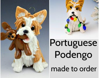 Portuguese Podengo Dog Porcelain Christmas Ornament Figurine Made to Order