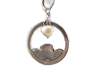 Sterling Silver Lotus Flower And Pearl Earrings
