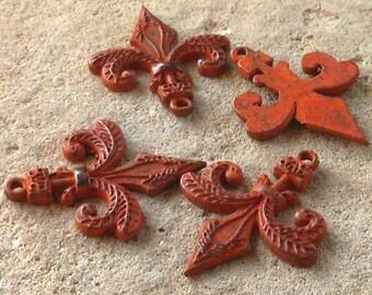 earring connector, fleur de lis, handmade RUST patina charm 2 pcs