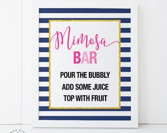 Navy stripes Mimosa Bar - Bridal Shower, Baby Shower, Wedding, Bachelorette, Engagement, and Birthday Printable Sign